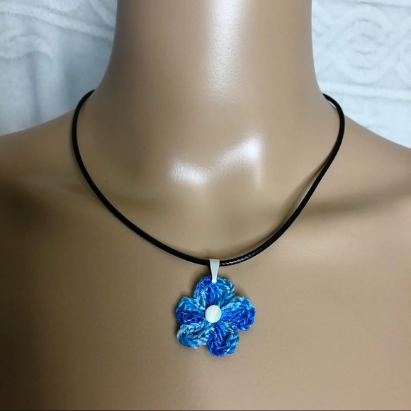 Flower Pendant on 18 Braided necklace